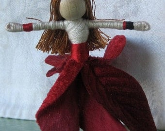 Sale - Christmas Fairy Doll - Deep Red Velvet - Christmas ornament -  Flower Fairy - Fairy Doll - Waldorf doll