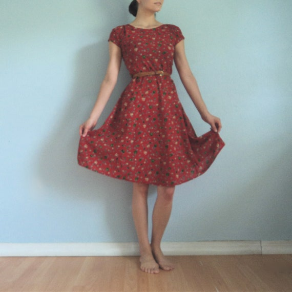 Sheer Knee Length Fun Red Flower Dress