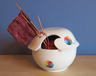 ceramic yarn bowl with rainbow yarn