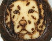 Dalmatian 2 -- burned into a tagua nut slice and made into a key chain (TN78)