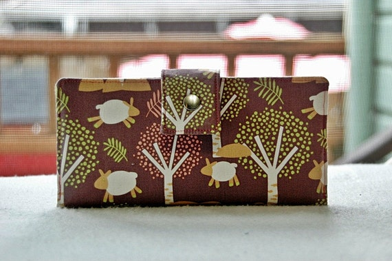 Wallet clutch womens   Clutch wallet all vegan handmade sheep and trees