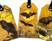 Spooky Tags - Set Of 6 - Gothic Gift Tags - Yellow And Black - Raven Tags - Cat Tags - Cauldron Tag -Halloween Tags - Holiday Tags -