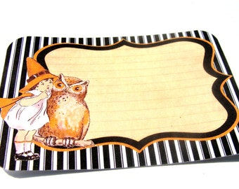 Halloween Tags - Set Of 6 - Halloween Labels - Black And Orange - Owl Tags - Witch Tags - Halloween Decor - Vintage Look - Treat Bag Toppers