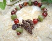 carnelian and green jade bracelet