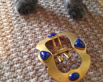 Gold Metal Belt Buckle with Blue Stones