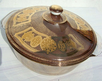 Hollywood Regency Georges Briard Fire King Vintage Casserole Dish
