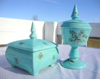 Mid Century Robins Egg Speckled Blue Set of Lidded Jars
