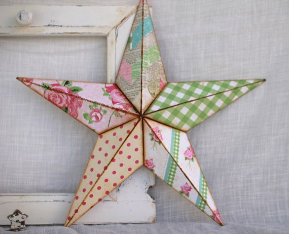 16in gingham and roses barn star