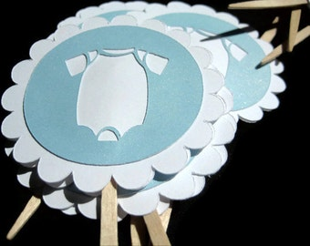 12 Baby Shower Cupcake Toppers For Boys