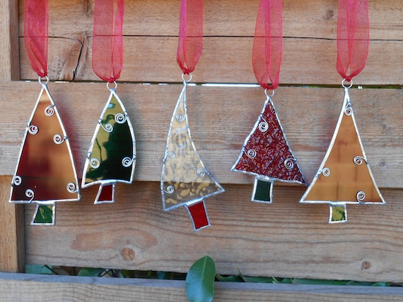 5 Stained Glass Christmas Tree Ornaments Red Green Clear
