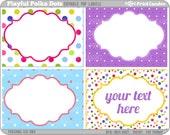 Rectangle - Editable PDF (8x10) Playful Polka Dots Labels -  Printable Labels / Cards