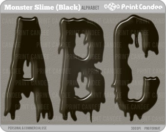 Monster Slime Alphabet (Black) - Digital Clip Art Personal and Commercial Use - paper crafts card making scrapbooking