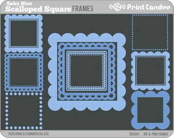 Scalloped Square Frames (Baby Blue) - Personal and Commercial Use - digital clipart frames clip art cute modern label