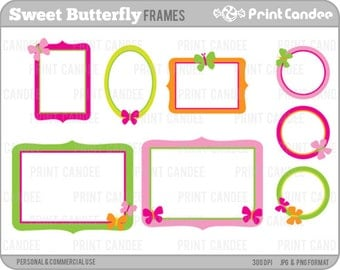 Sweet Butterfly Frames - Personal and Commercial Use - digital clipart frames clip art cute modern