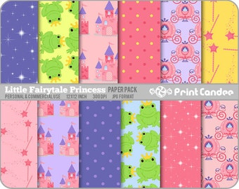 Little Fairytale Princess Paper Pack (12 Sheets) - Personal and Commercial Use - pink purple frogs castles yellow dots