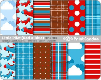 Little Pilot Red & Blue Paper Pack (12 Sheets) - Personal and Commercial Use - blue red airplanes clouds stripes dots