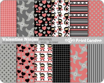 Valentine Ninjas Paper Pack (12 Sheets) - Personal and Commercial Use -  valentines day for boys karate nunchucks