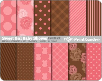 Sweet Girl Baby Shower Paper Pack (12 Sheets) - BUY 2 GET 2 FREE - Personal and Commercial Use - polka dot stars denim plaid tartan stripe