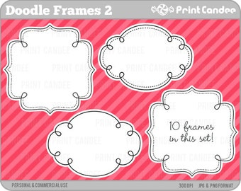 Doodle Frames 2 - Personal and Commercial Use - digital clipart frames clip art cute modern