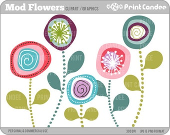 Mod Flowers -  Digital Clip Art - Personal and Commercial Use Clip Art - scrapbooking, card making, party, design elements