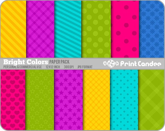 Bright Colors Paper Pack (12 Sheets) - Personal and Commercial Use - polka dot hearts tartan stripe plaid