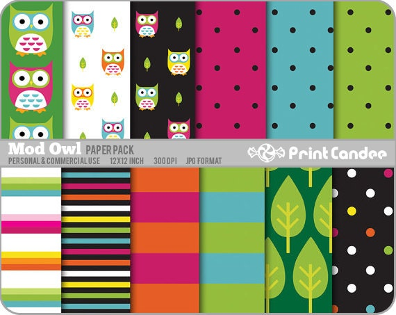 Mod Owl Paper Pack (12 Sheets) - Personal and Commercial Use - green blue red orange white dots stripes