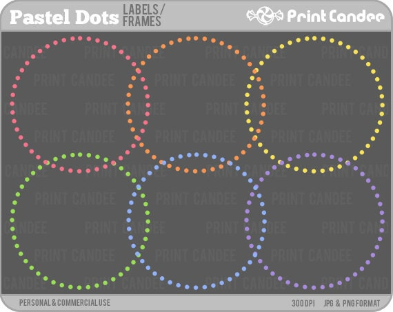 Pastel Rainbow Circle Dot Frames - Personal and Commercial Use - digital clipart frames clip art cute modern label