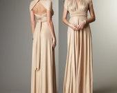 Long A-line Convertible Infinity Dress in Mocha