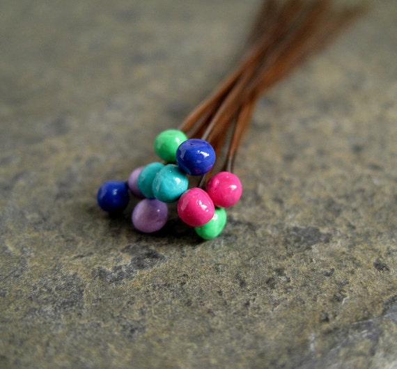 Copper Ball Headpins colored ball headpins oxidized copper findings