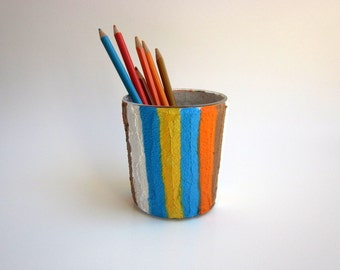 Pencil Holder / Colorful pen cup / Office Decor