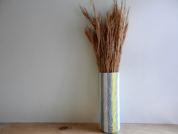 White Gray Yellow Striped Vase Modern Country Cottage / handcrafted vase / Carriage Oak Cottage