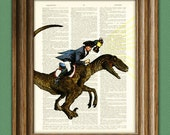 Paul Revere riding a velociraptor dinosaur beautifully upcycled dictionary page book art print