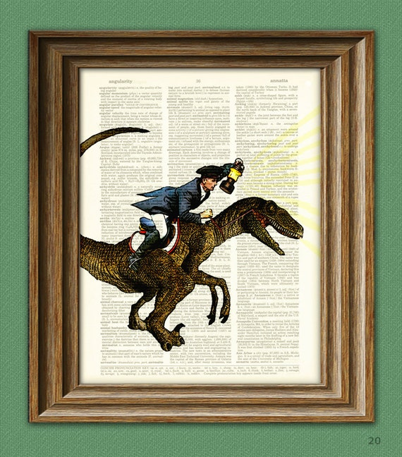 paul revere riding a velociraptor dinosaur beautifully etsy
