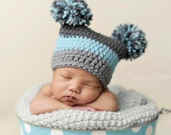 Pom Pom Hat in Aqua, Grey, and Charcaol