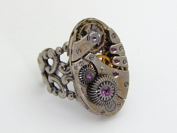 Steampunk Ring vintage watch movement gears silver filigree purple crystal Neo Victorian Industrial jewelry by Steampunk Nation 1649