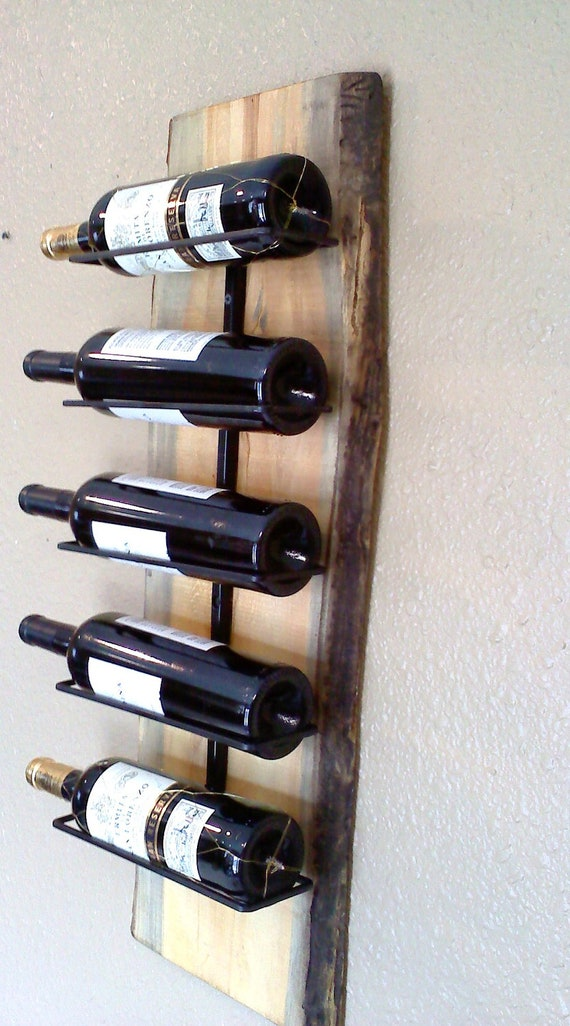 Wall hanging wooden slab wine rack by aspenbottleholders Hanging wooden wine rack
