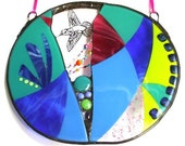 Glass Mandala - Large Fused, Stained glass and Beaded Panel, Ready to Ship
