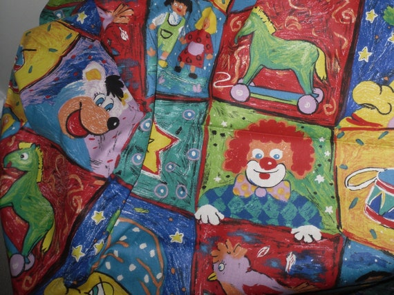 Crayon drawings fabric quilt fabric cotton fabric by the for Childrens cotton fabric by the yard