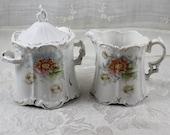 Vintage White Porcelain Floral Creamer and Sugar Set with Star Marking