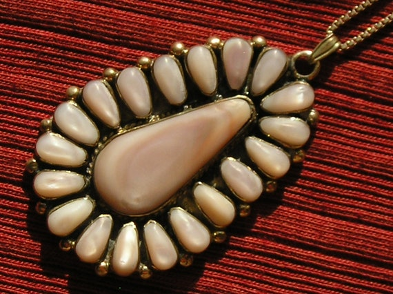 Reserved for edie25, please do not purchase:) -- Southwest Sterling Silver Pink Mother of Pearl Petit Point Teardrop Pendant Necklace
