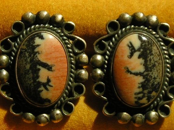 Southwest Sterling Silver Petrified Wood Cufflinks