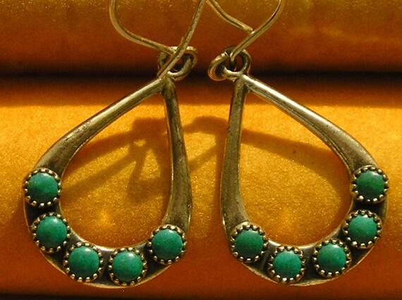 Southwest Sterling Silver Turquoise Teardrop Dangle Earrings
