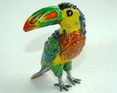 TOUCAN vintage enamel trinket jewelry box with crystals