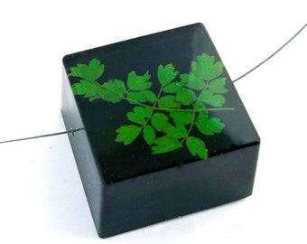 Limited Edition Sale! Green Rue Leaf set into Black Resin Cube.