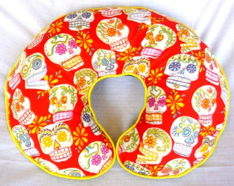 Red Sugar Skulls Boppy Pillow Cover Nursing Pillow Cover