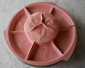 Rare Retro Lazy Susan // Coral Ceramic With Chicken Motif