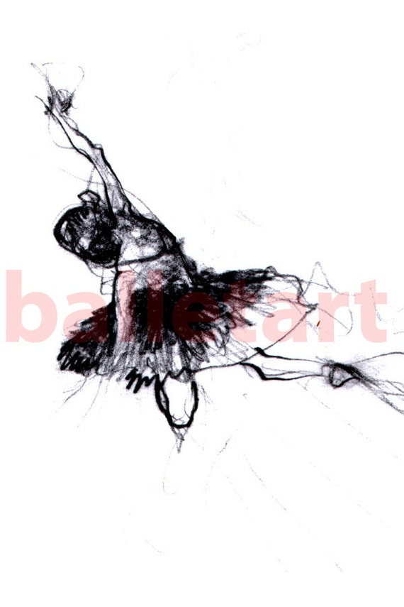 The dancer, ballet art, art print, wall art, hand drawing, charcoal drawing, black and white art, ballet dancer, wall decor, interior design