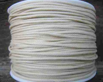 Wax Cotton Cord 1mm Ivory 8 yards or 24 feet 26 Colors Available