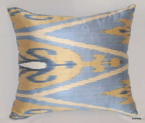 blue, brown, ikat pillow cover, 18x18, last one