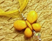Butterfly Howlite Stone Pendant Necklace, Yellow color